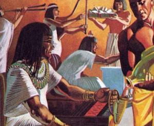 Богатые египтяне устраивали для гостей праздники, завершавшиеся роскошной трапезой и обильными возлияниями.