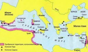 На данном рисунке представлено Средиземноморье в эпоху финикийцев.