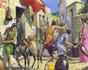 Бытовая сценка в древни греческих селениях