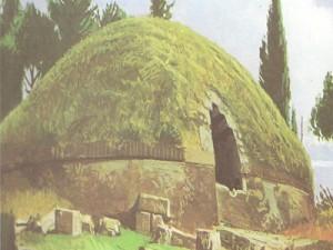 Внешний вид этрусской гробницы в Черветери.