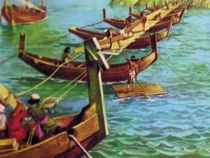 Чтобы переправиться через пролив, персы сумели построить понтонный мост.