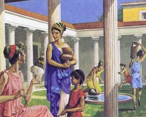 В греческих домах был внутренний дворик с портиком, где протекала большая часть жизни обитателей дома.