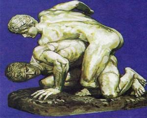 Два борца: борьба была одним из самых распространенных видов спорта.