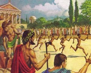 Олимпийские игры, проводившиеся с 776 г. до н.э., постепенно охватывали все  новые виды спорта; 776 г. до н.э.: только соревнования в беге, так называемый стадий; 720 г. до н.э. двойной стадий, или диавлос (380 м). 712 г. до н.э.: соревнования в пятиборье ( прыжки в длину, борьба, бег, метание диска и копья). 704 г. до н.э.: кулачный бой. 680 г. до н.э.: гонки на колесницах, квадригах и конные состязания на дистанцию 4600 м. 580 г. до н.э.: гоплитодром ( бег на 384 м по всем военном обмундировании).