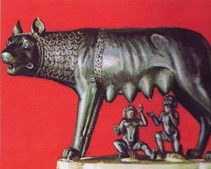 Согласно легенде, Ромул и Рем, основатели Рима, были вскормлены волчицей.