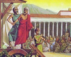 """Изобретателем греческой трагедии считается Феспид; со своей бродячей труппой """"Повозка Феспида"""" он выступил в различных городах."""