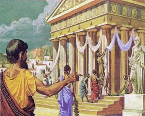 Греческие богов было очень много; в честь них возводились великолепные храмы; Парфенон в Афинах - самый знаменитый.