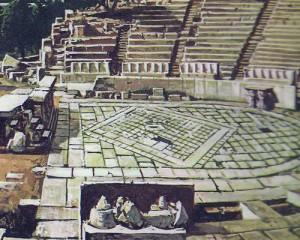 Два прекрасных греческих театра: в Эпидавре (сверху) и театр Диониса в Афинах (снизу). На склоне холма сооружались ряды широких ступеней, которые сходились у сцены; в полукруге у основания сцены помещалась орхестра.