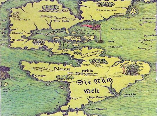 старинная карта Америки cоставленная немецким исследователем Себастьяном Мюнстером