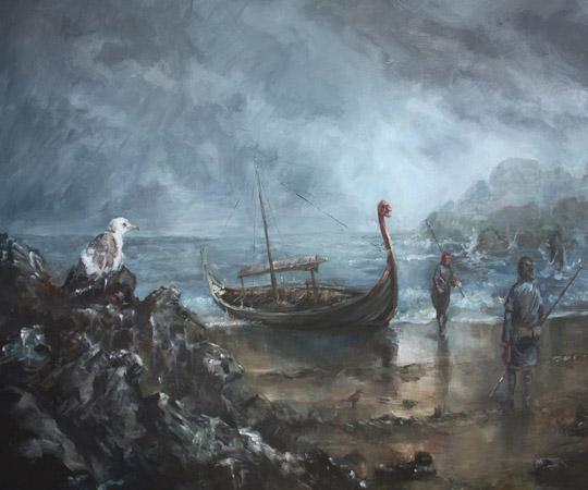 Судно викингов у берегов Англии © Skworus