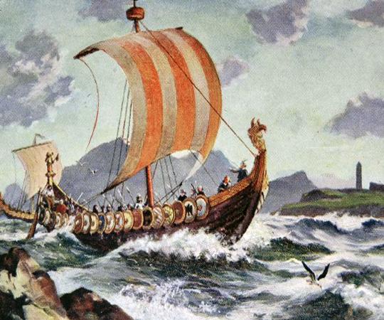 Корабль норманнов (викингов) направляющейся в Британию