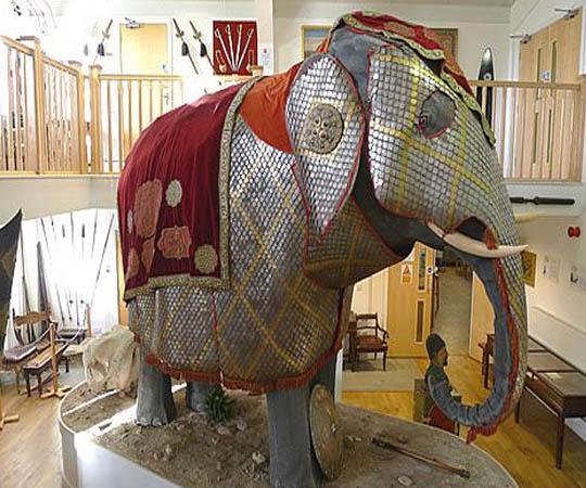 Индийский боевой слон в броне 19-век Стратфорд оружейный музей