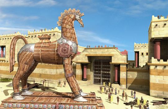 троянский конь внутри Трои